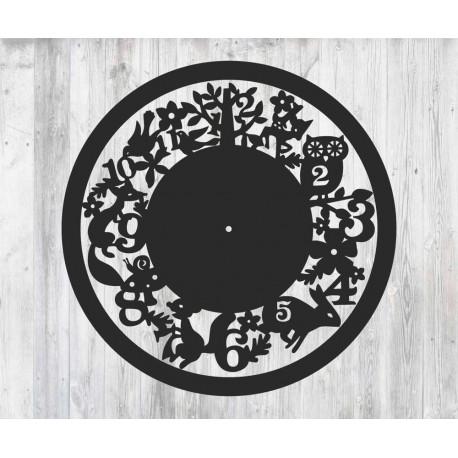 Laser Cut Wall Clock With Animals Free CDR Vectors Art