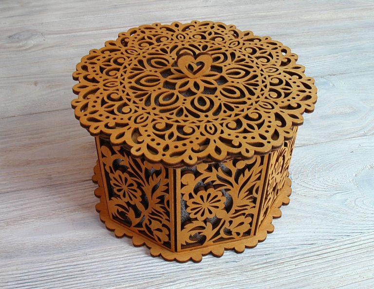 Laser Cut Wooden Decorative Octagon Gift Box Jewelry Storage Box Free CDR Vectors Art