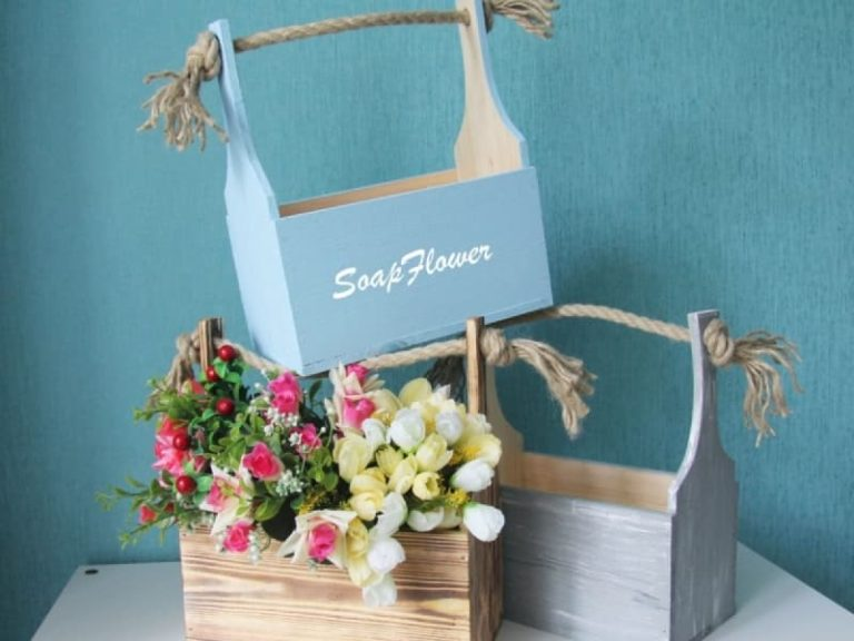Laser Cut Wooden Flower Boxes Basket For Flowers Free CDR Vectors Art