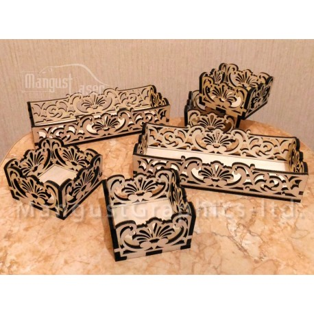 Laser Cut Arabesque Art Box Trays Templates Free CDR Vectors Art