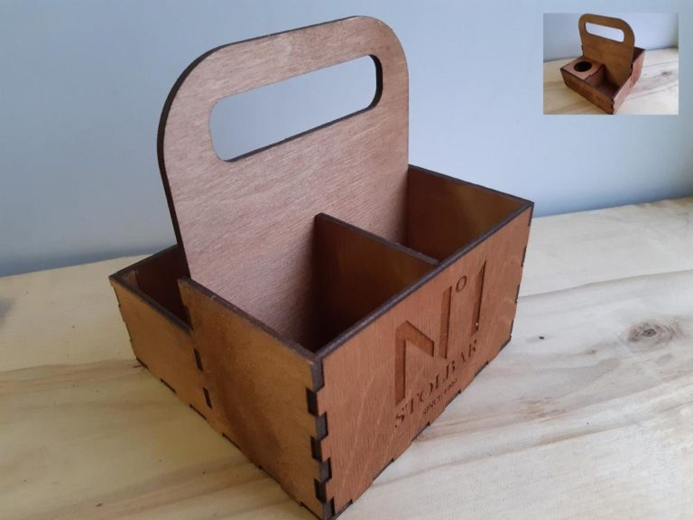 Laser Cut Caddy Spice Box With Handle Template Free CDR Vectors Art
