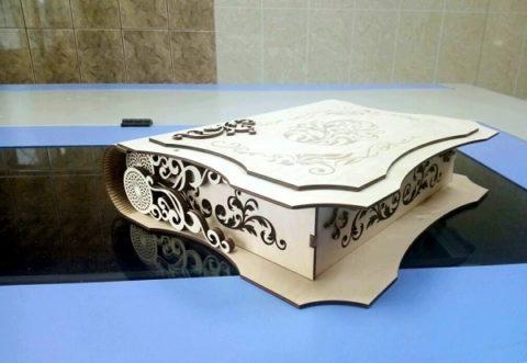 Laser Cut Decorative Folding Book Box Free CDR Vectors Art