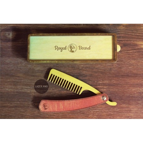 Laser Cut Folding Beard Comb Template With Box Free CDR Vectors Art