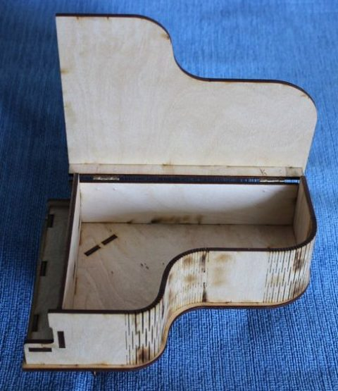 Laser Cut Piano Shaped Gift Box Plywood Free CDR Vectors Art