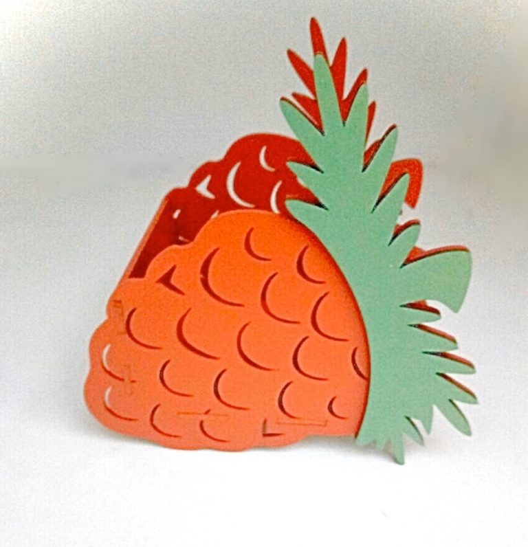 Laser Cut Pineapple Shape Basket Box Free CDR Vectors Art