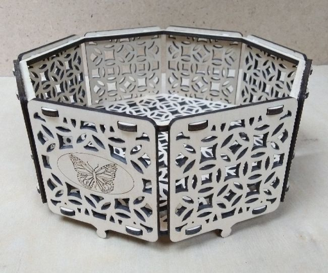 Laser Cut Wooden Octagon Box Storage Case Decorative Packaging Box Free CDR Vectors Art