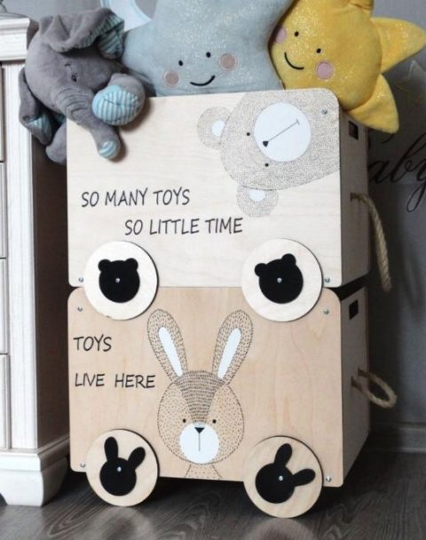 Laser Cut Wooden Toy Boxes Plywood 6mm Free CDR Vectors Art