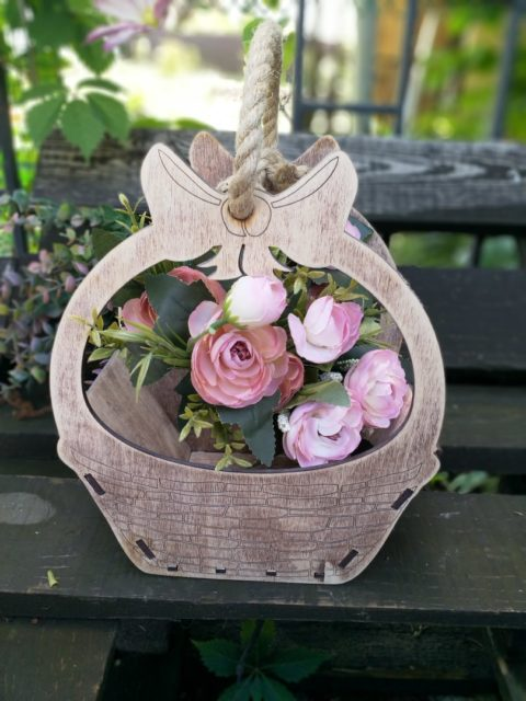 Laser Cut Basket Of Plywood For Flowers Free CDR Vectors Art