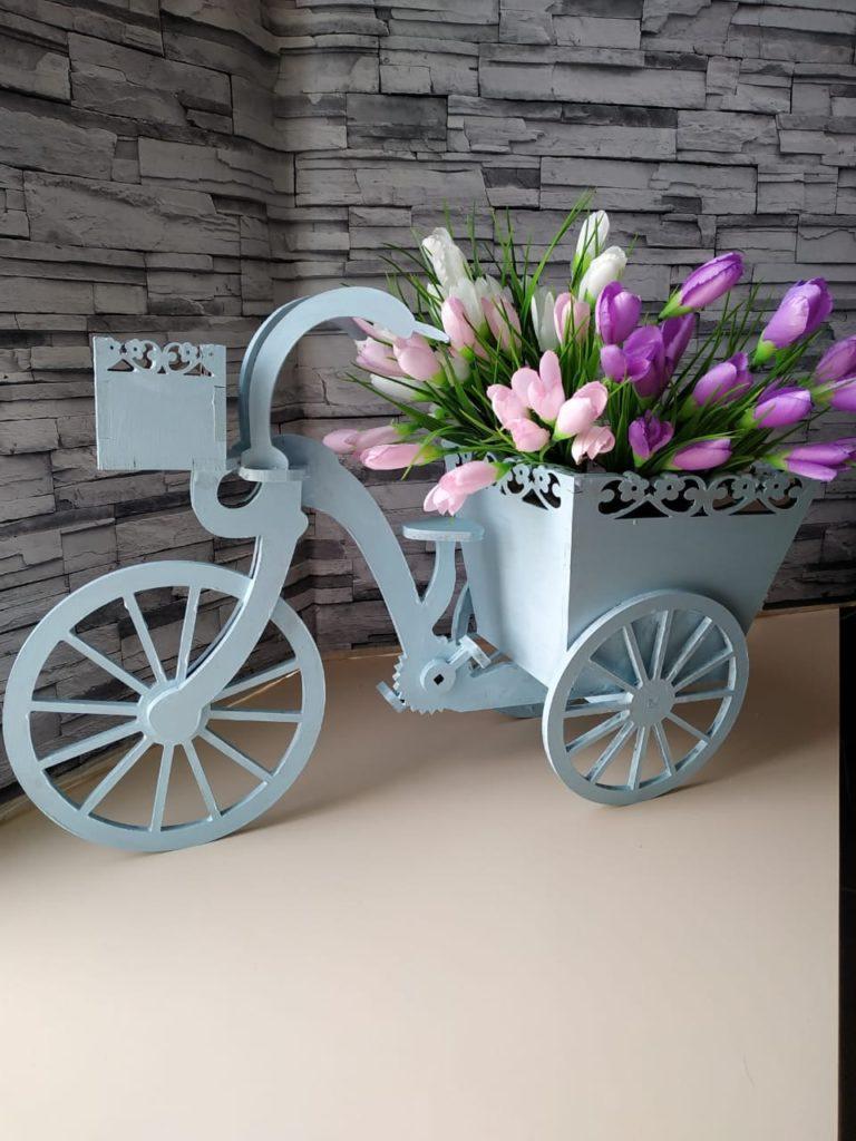 Laser Cut Tricycle Flower Basket Free CDR Vectors Art