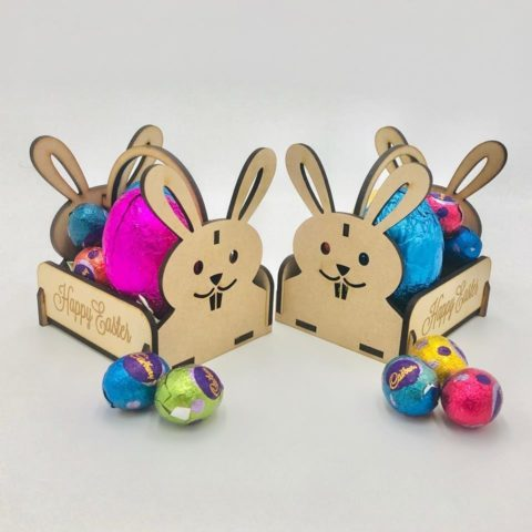 Laser Cut Wooden Easter Bunny Basket Free CDR Vectors Art