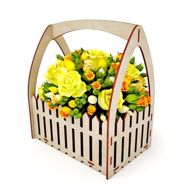 Laser Cut Wooden Fence Flower Basket Free CDR Vectors Art