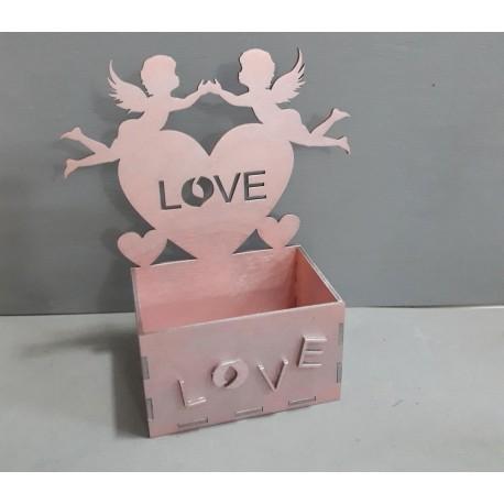 Laser Cut Box With Angels Love Heart Free CDR Vectors Art