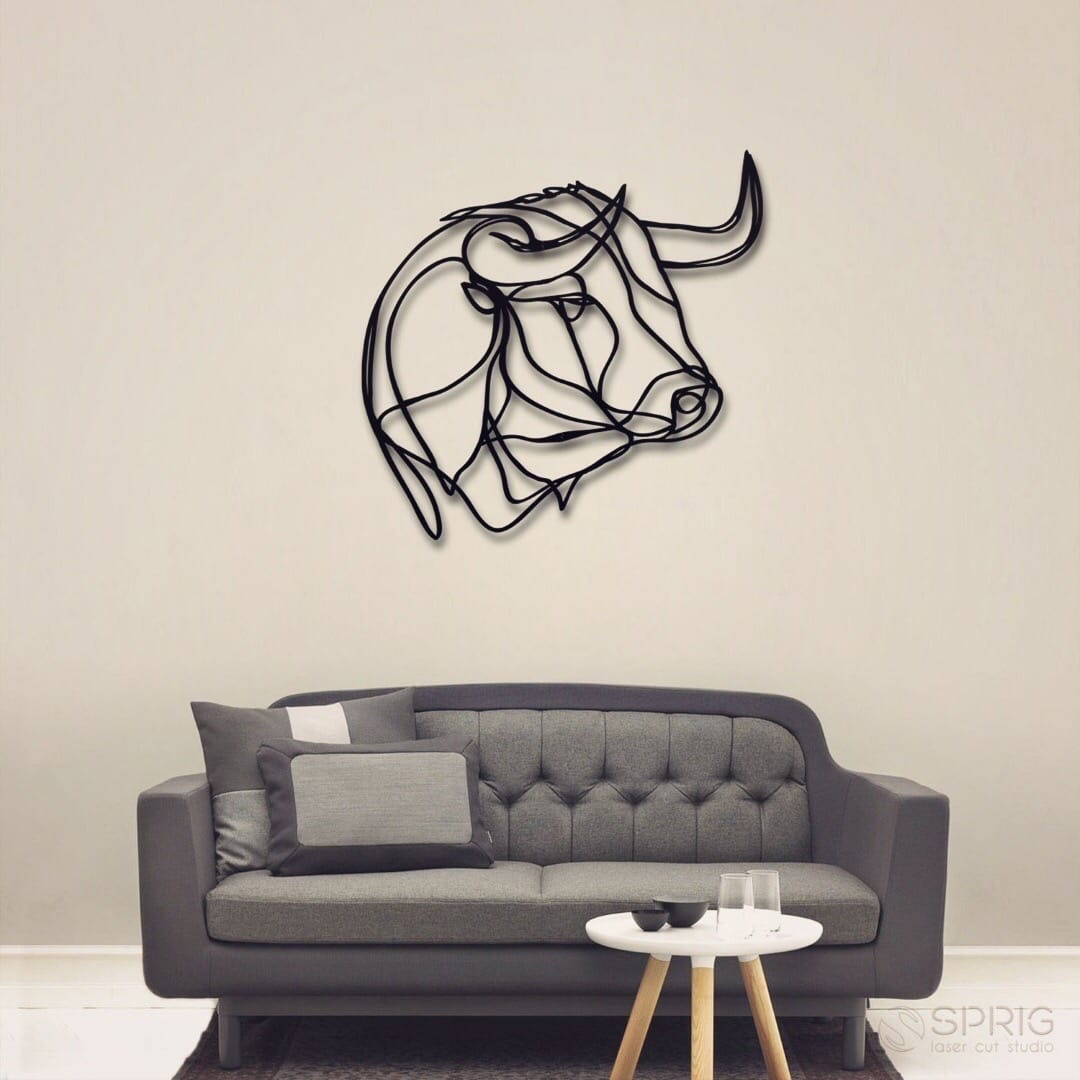 Laser Cut Buffalo Bull Wall Decor Free CDR Vectors Art
