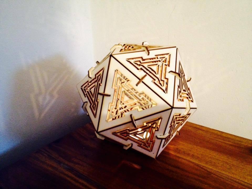 Laser Cut Icosahedron Lamp 3mm Plywood Free AI File