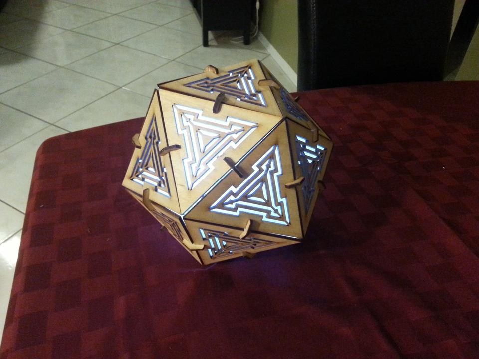 Icosahedron Lamp 3mm Plywood Free AI File