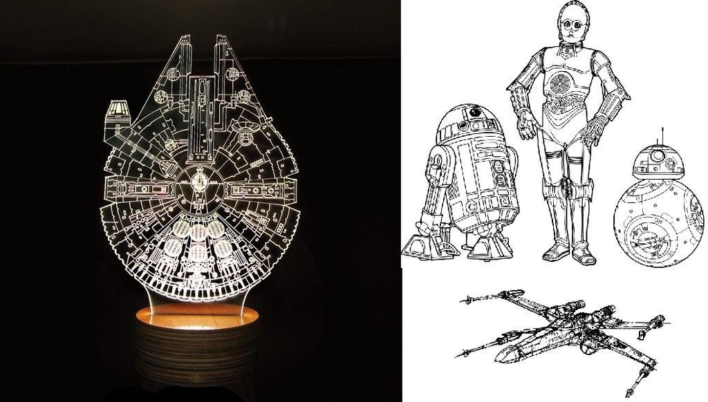 Laser Cut Star Wars Millenium Droid 3d Optical Illusion Lamp Free AI File