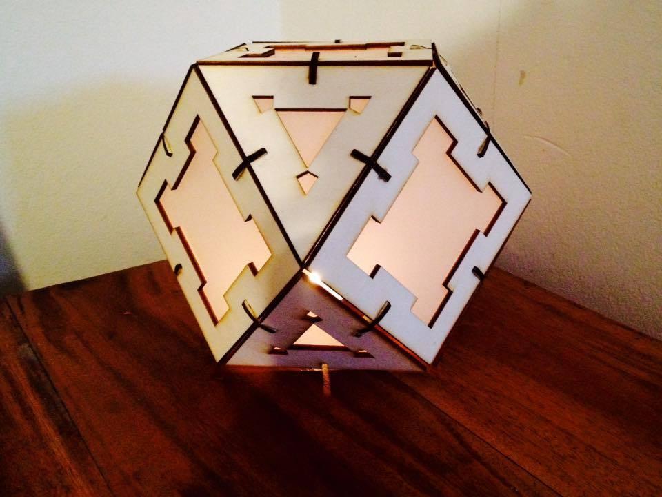 Laser Cut Wooden Cuboctahedron Lamp Free AI File