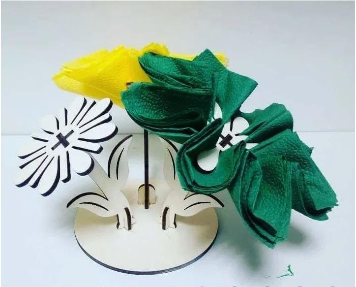 Laser Cut Flower Stand Napkin Holder Free CDR Vectors Art