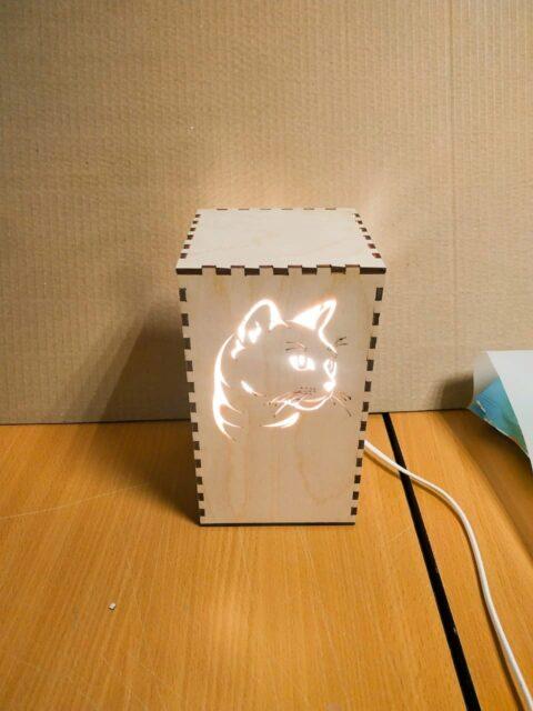 Laser Cut Kitty Cat Night Light Lamp Free CDR Vectors Art