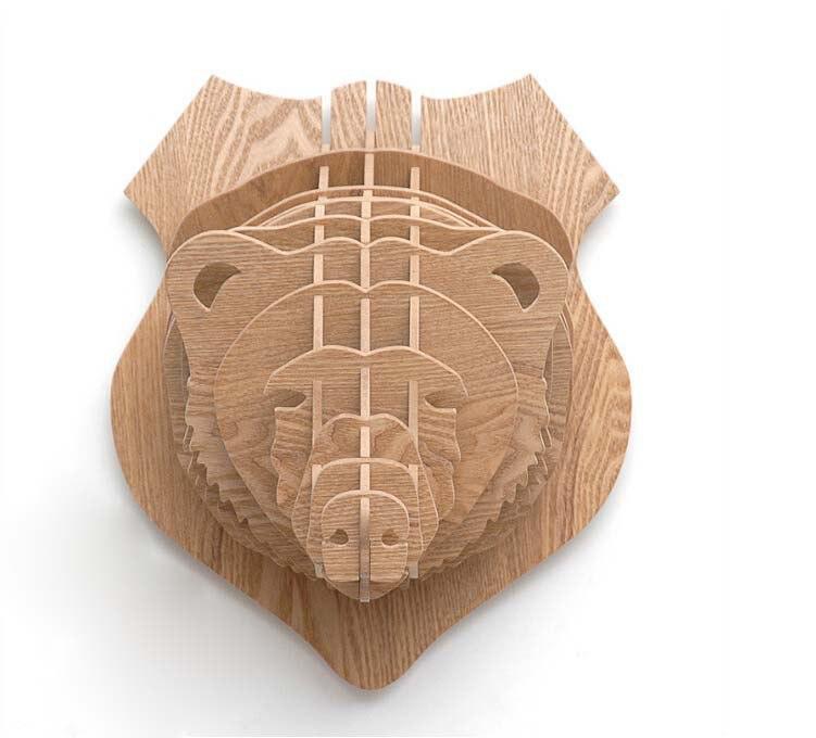 Bear Head 3d Puzzle Animal Head Wall Trophy Free CDR Vectors Art