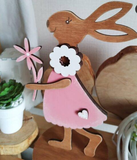 Laser Cut Decorative Bunny With A Flower 4mm 12cm Free CDR Vectors Art