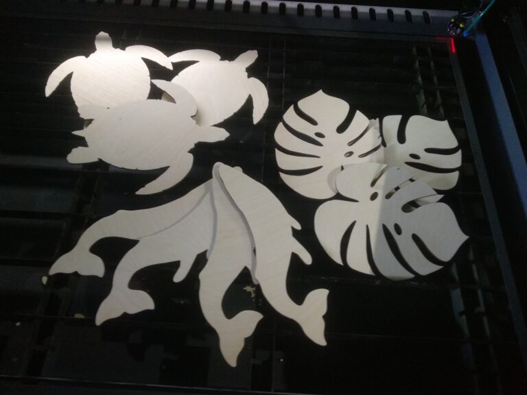 Laser Cut Turtle Whale And Monstera Leaf Free CDR Vectors Art