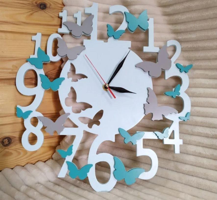 Butterfly Wall Clock Laser Cutting Templates Free CDR Vectors Art