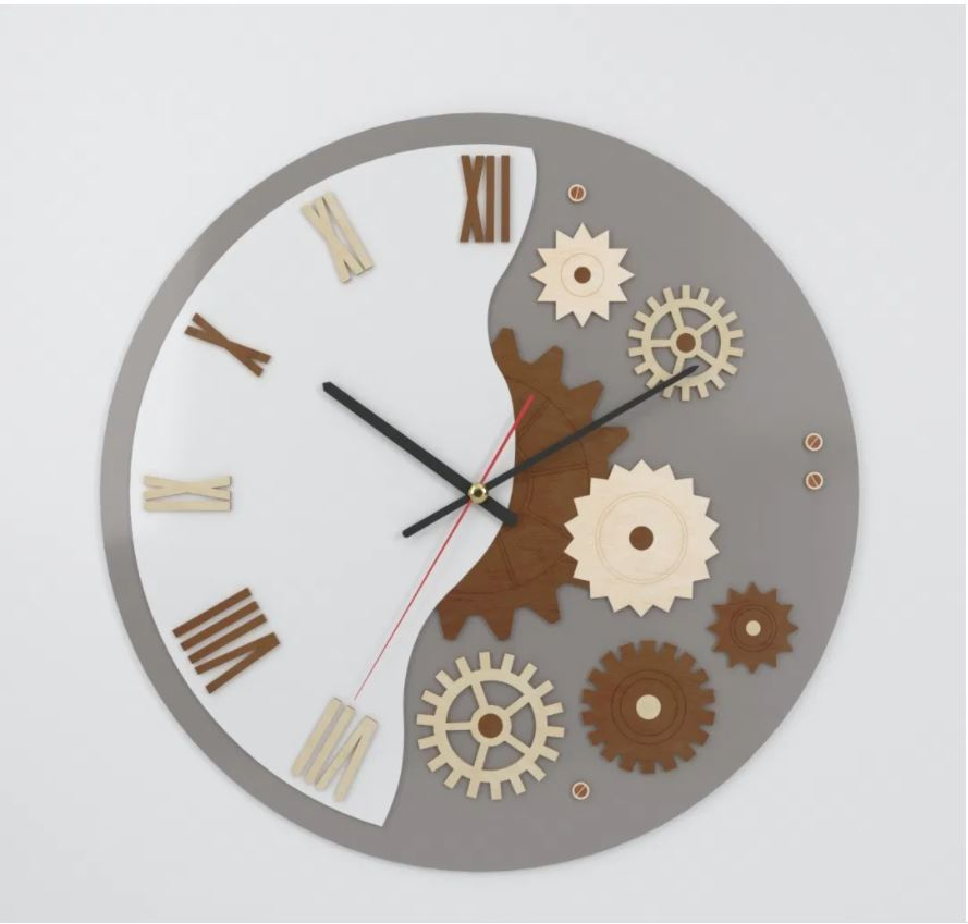 Laser Cut Decorative Wall Clock 3 5mm Plywood Layout Free CDR Vectors Art