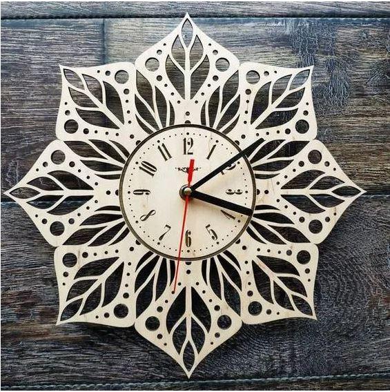 Laser Cut Decorative Wall Clock Free CDR Vectors Art
