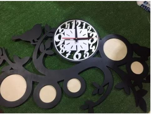 Laser Cut Wall Clock With Photo Frames Free CDR Vectors Art