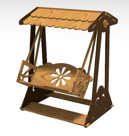Laser Cut Wooden Swing Chair Free CDR Vectors Art