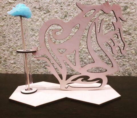 Laser Cut Wooden Horse Head Test Tube Vase Glass Planter Glass Flower Pot Free CDR Vectors Art