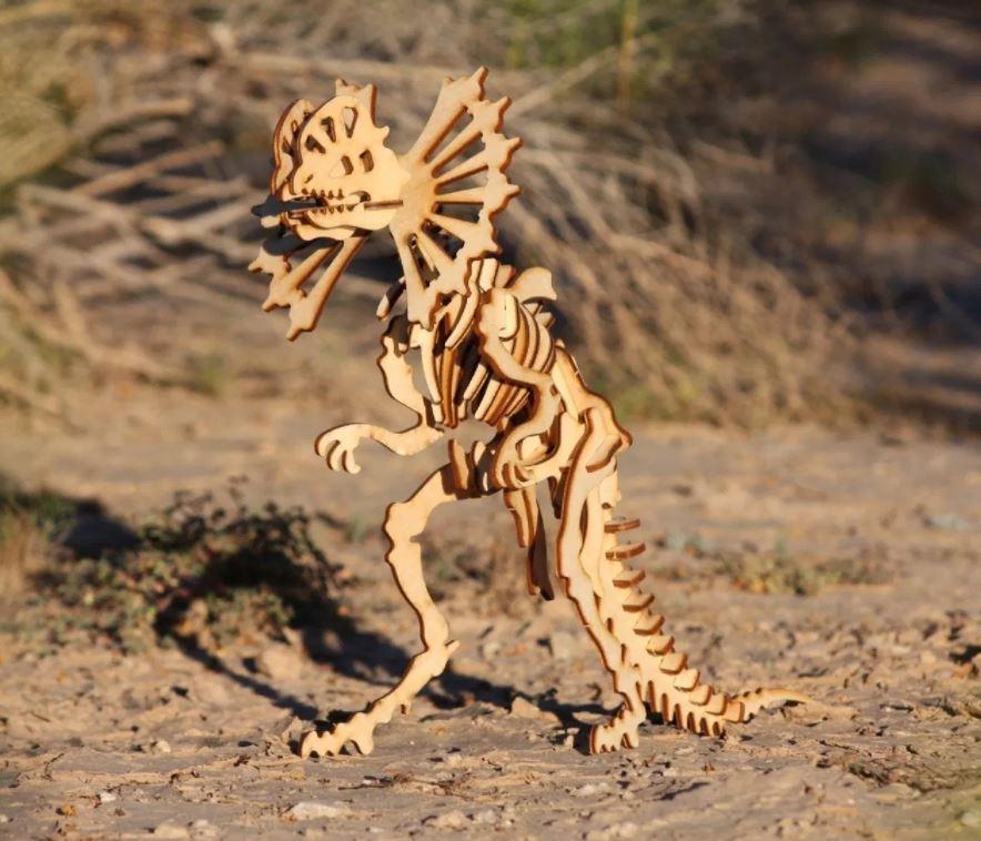 Dilophosaurus Wooden Skeleton Model Free CDR Vectors Art