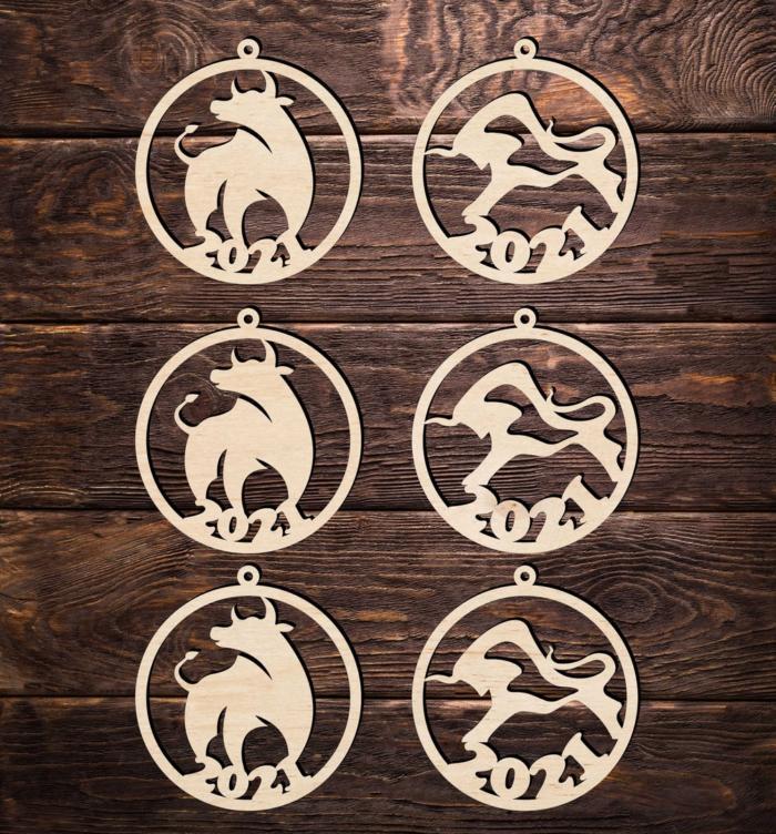 Laser Cut Layout Of Bulls Symbol 2021 New Year Free CDR Vectors Art