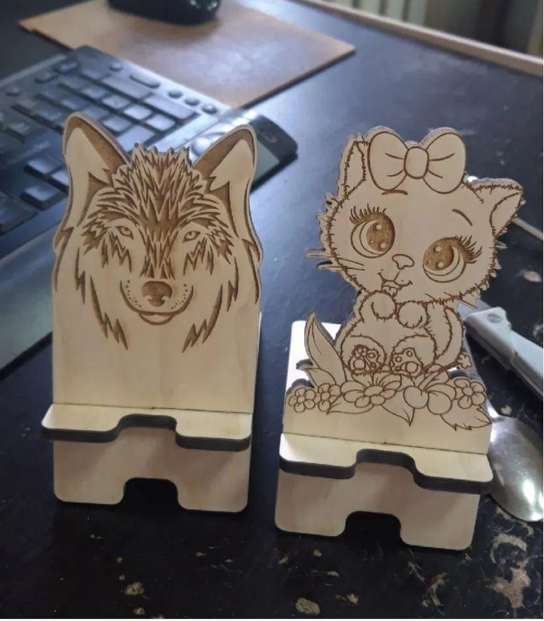 Laser Cut Phone Stand Kitten Free CDR Vectors Art