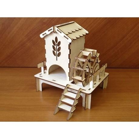 Laser Cut Watermill Tea House Free CDR Vectors Art
