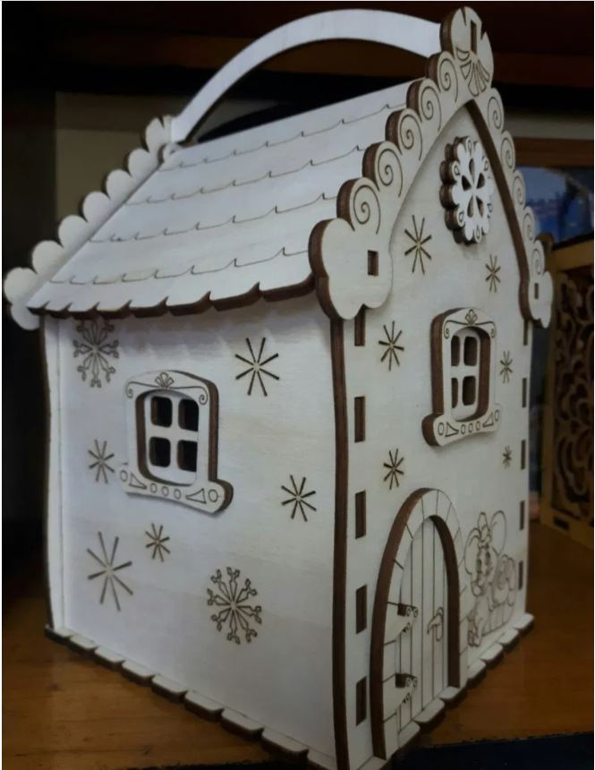 Laser Cut Sweet Candy House Layout Free CDR Vectors Art
