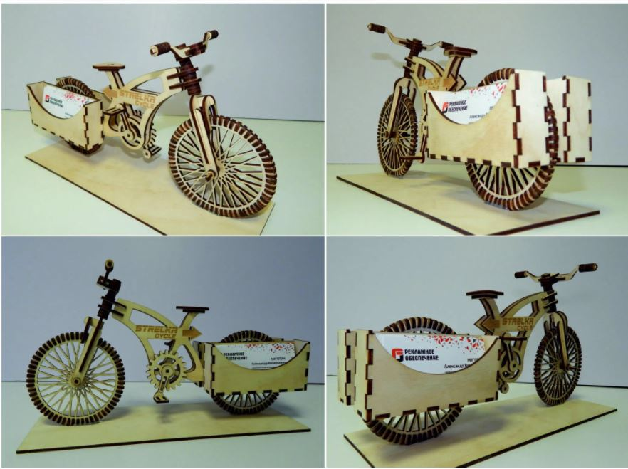 Bicycle Business Card Holder Free CDR Vectors Art