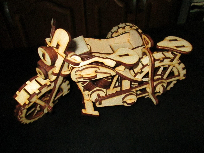 Motorcycle Wood Puzzle Free CDR Vectors Art
