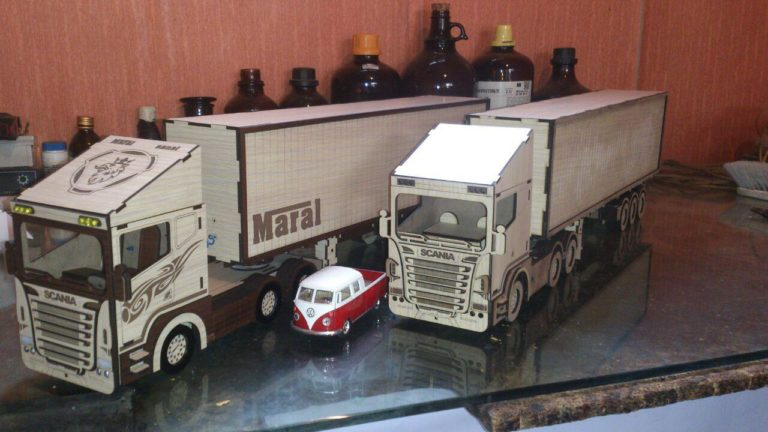 Laser Cut Scania Truck Wood Model Toy Kit Free CDR Vectors Art