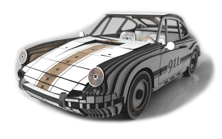 Laser Cut Wooden Porsche 911 Model Free CDR Vectors Art