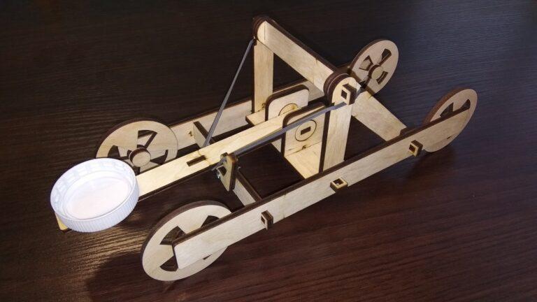 Laser Cut Wooden Toy Catapult Free CDR Vectors Art