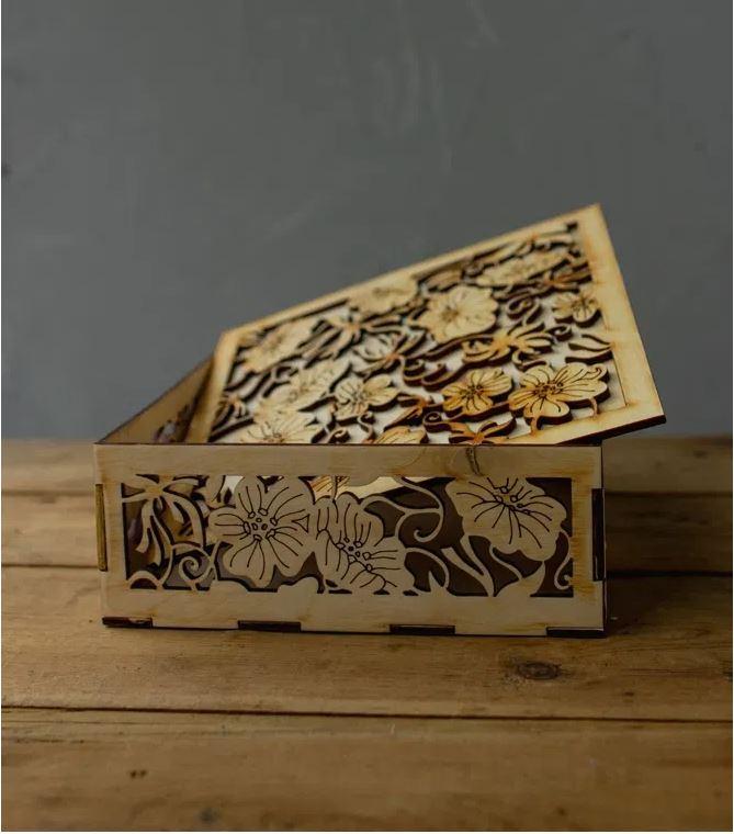 Laser Cut Decor Wooden Gift Box Free CDR Vectors Art