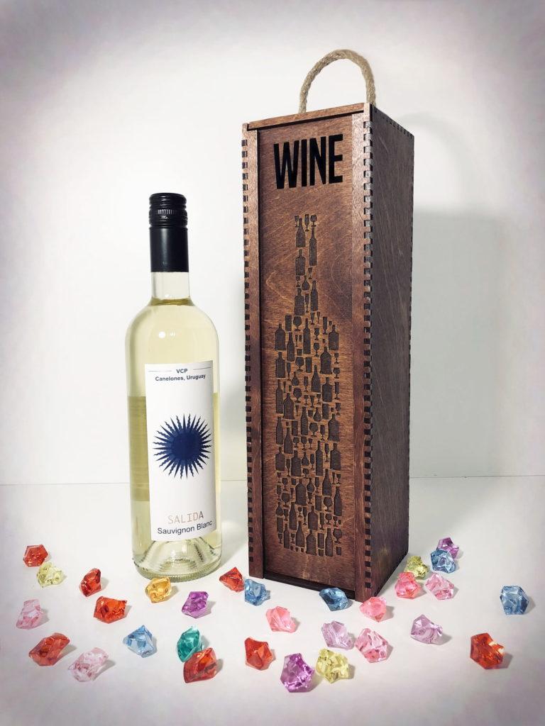 Laser Cut Wine Bottle Wooden Engraved Storage Case With Sliding Lid Free CDR Vectors Art