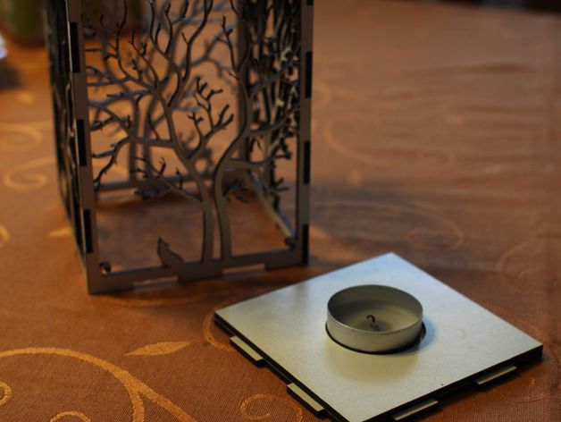 Candle Holder Laser Cut Tree And Animals Wood Present Tea Candle Free DXF File
