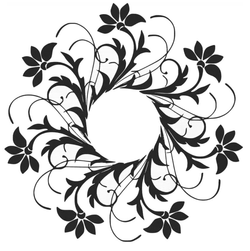 Laser Cut Circular Floral Design Free DXF File