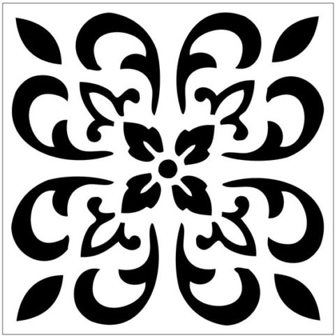 Reusable laser-cut Floor Or Wall Tile Stencil Free DXF File
