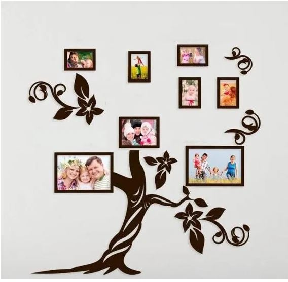 Laser Cut Tree Photo Frame Set Layout Free CDR Vectors Art