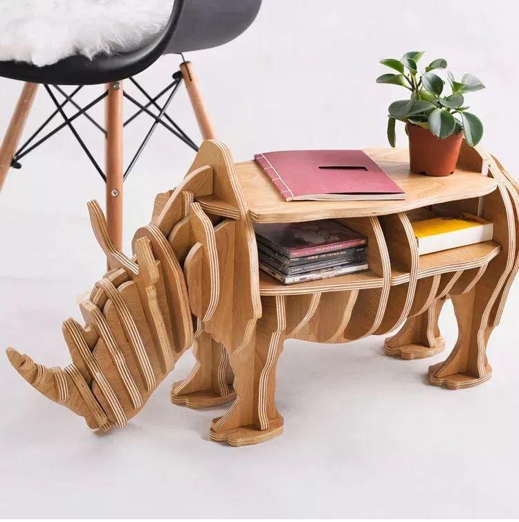 Rhino Book Shelf Home Decor Laser Cutting Templates Free CDR Vectors Art
