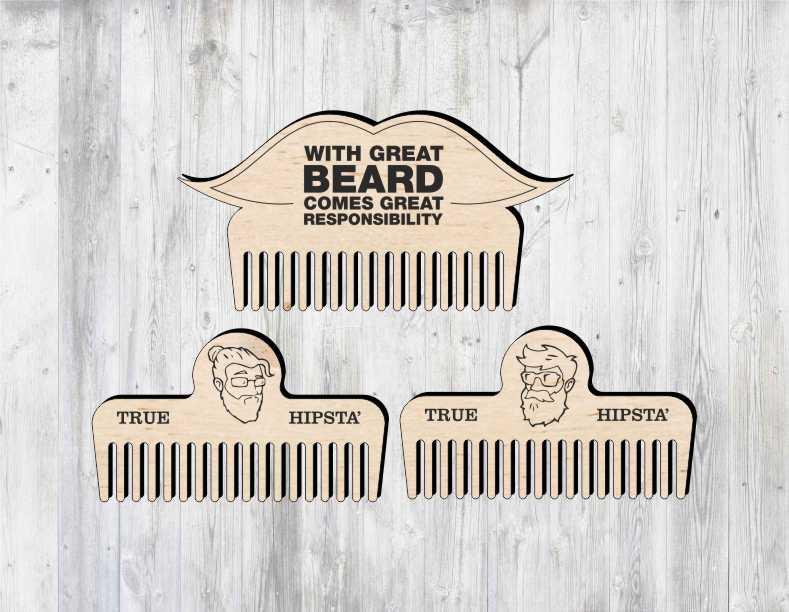 Laser Cut Beard Comb Layout Free CDR Vectors Art